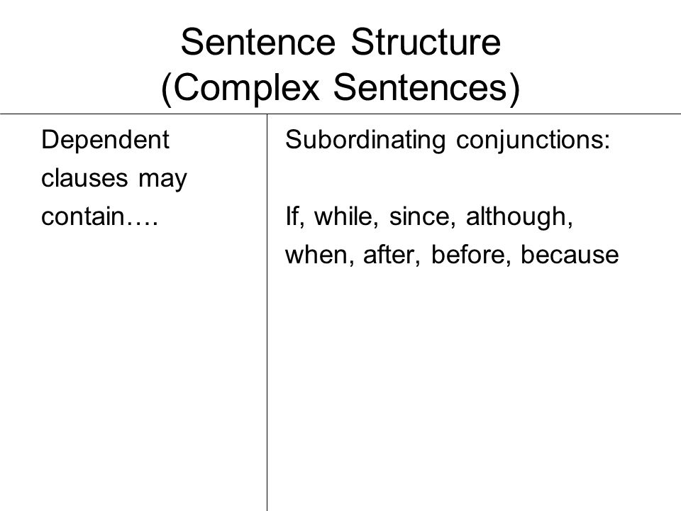Sentence Structure (Complex Sentences) Example:I made you dinner while you were sleeping.