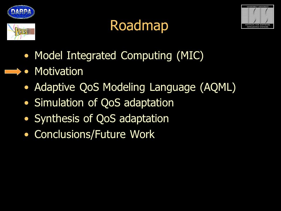 Motivation RT Middleware solutions enable highly-complex Distributed Real-time Embedded (DRE) systems QoS adaptive frameworks (QuO * ) enable abstraction of QoS parameters and QoS adaptation Low-level of abstraction for specification of adaptation –Difficult to validate/verify System behavior not apparent in specification of adaptation –QoS adaptation software is equivalent to a discrete controller for a highly non-linear system –Could result in instability –Need to simulate/verify Need: Specifications of behavior separated from software concerns * QuO: Quality Objects (BBN Tech.)