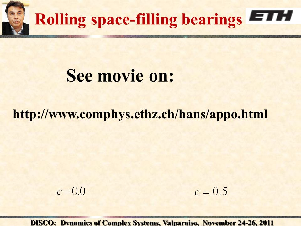 DISCO: Dynamics of Complex Systems, Valparaiso, November 24-26, 2011 Rolling space-filling bearings   See movie on: