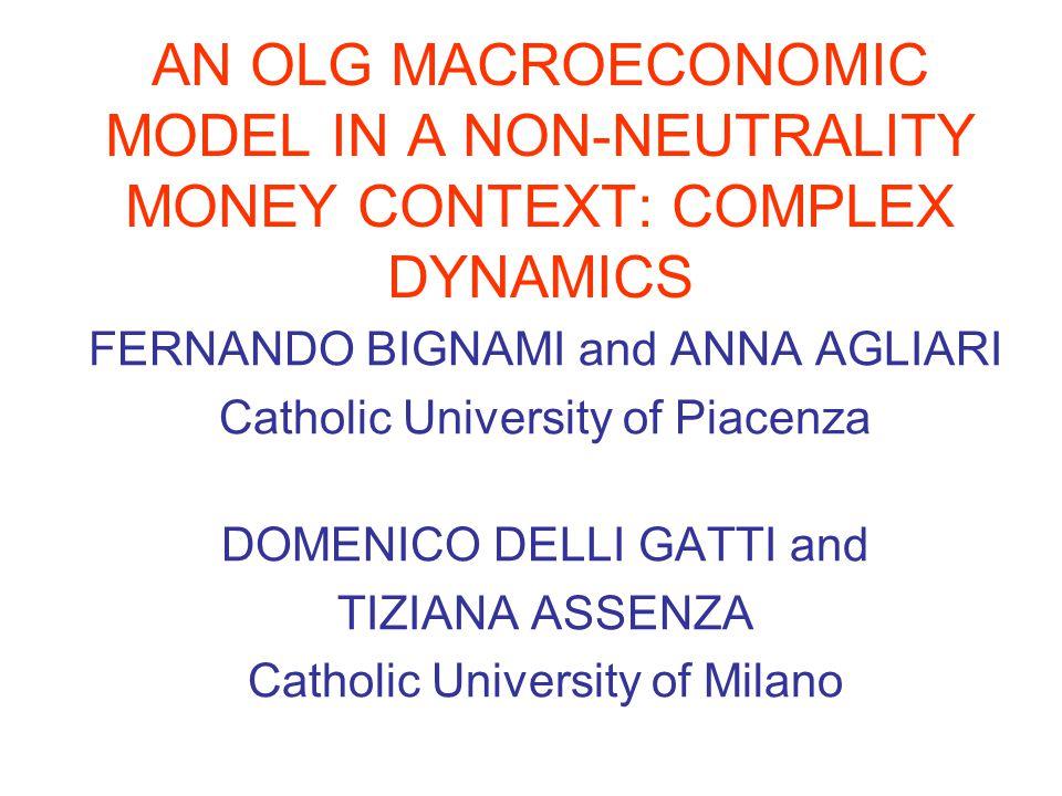 AN OLG MACROECONOMIC MODEL IN A NON-NEUTRALITY MONEY CONTEXT: COMPLEX DYNAMICS FERNANDO BIGNAMI and ANNA AGLIARI Catholic University of Piacenza DOMEN