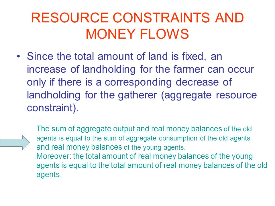 RESOURCE CONSTRAINTS AND MONEY FLOWS Since the total amount of land is fixed, an increase of landholding for the farmer can occur only if there is a corresponding decrease of landholding for the gatherer (aggregate resource constraint).