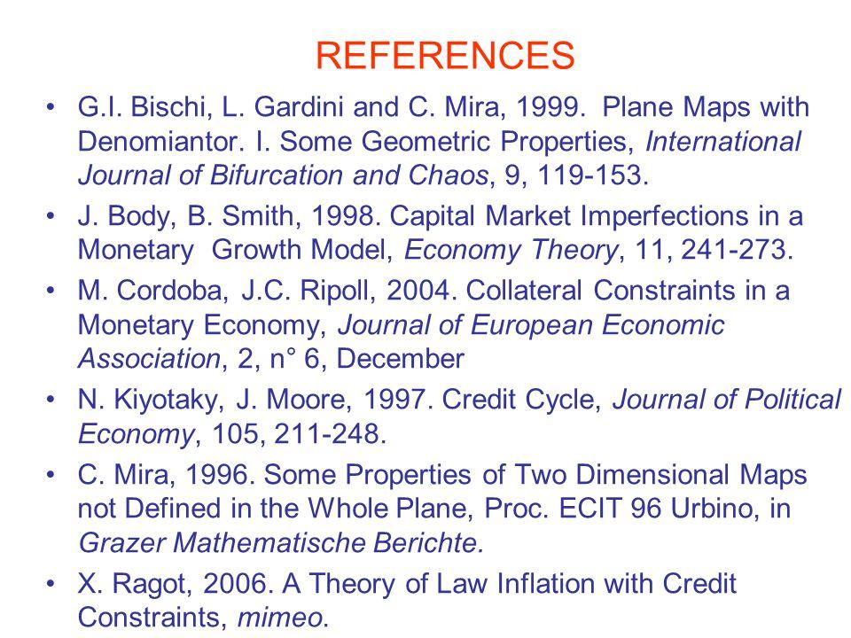 REFERENCES G.I. Bischi, L. Gardini and C. Mira, 1999. Plane Maps with Denomiantor. I. Some Geometric Properties, International Journal of Bifurcation