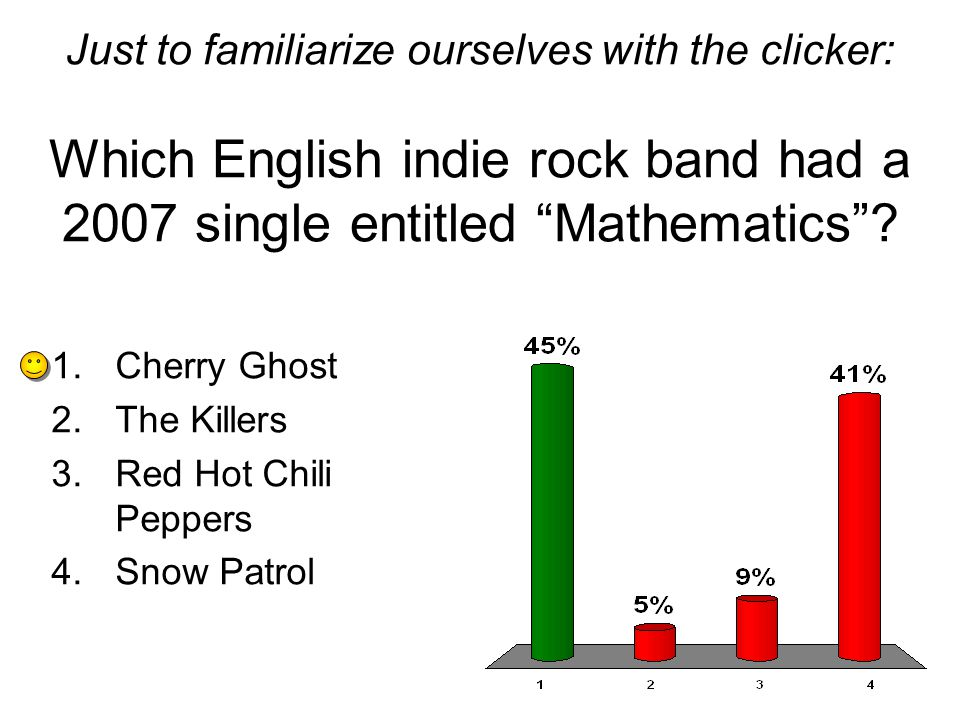 Just to familiarize ourselves with the clicker: Which English indie rock band had a 2007 single entitled Mathematics.