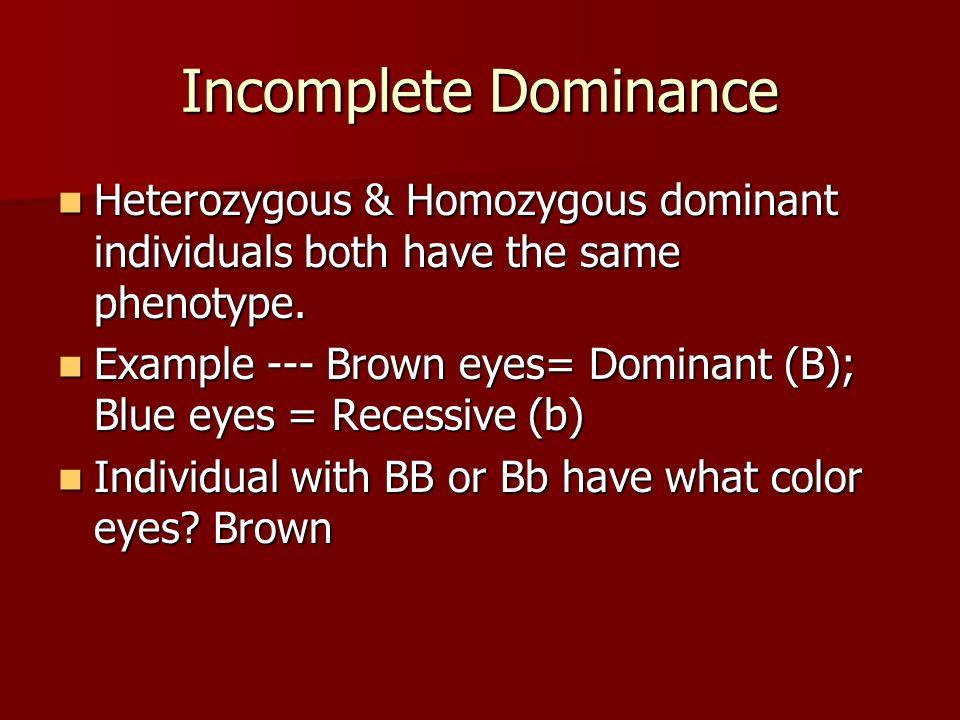 Incomplete Dominance Heterozygous & Homozygous dominant individuals both have the same phenotype. Heterozygous & Homozygous dominant individuals both