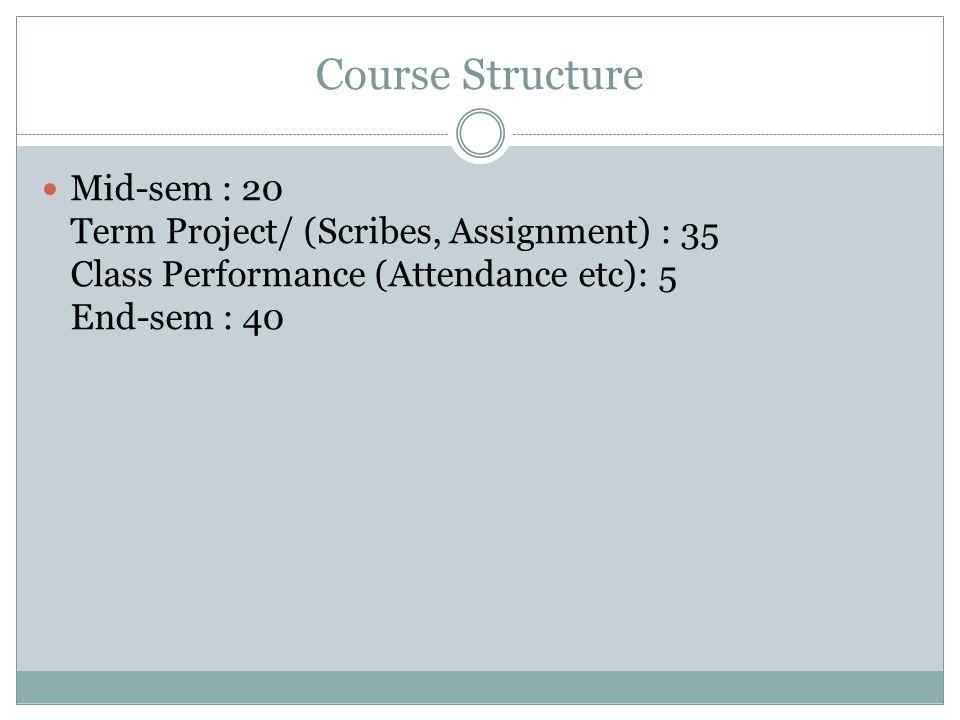 Course Structure Mid-sem : 20 Term Project/ (Scribes, Assignment) : 35 Class Performance (Attendance etc): 5 End-sem : 40