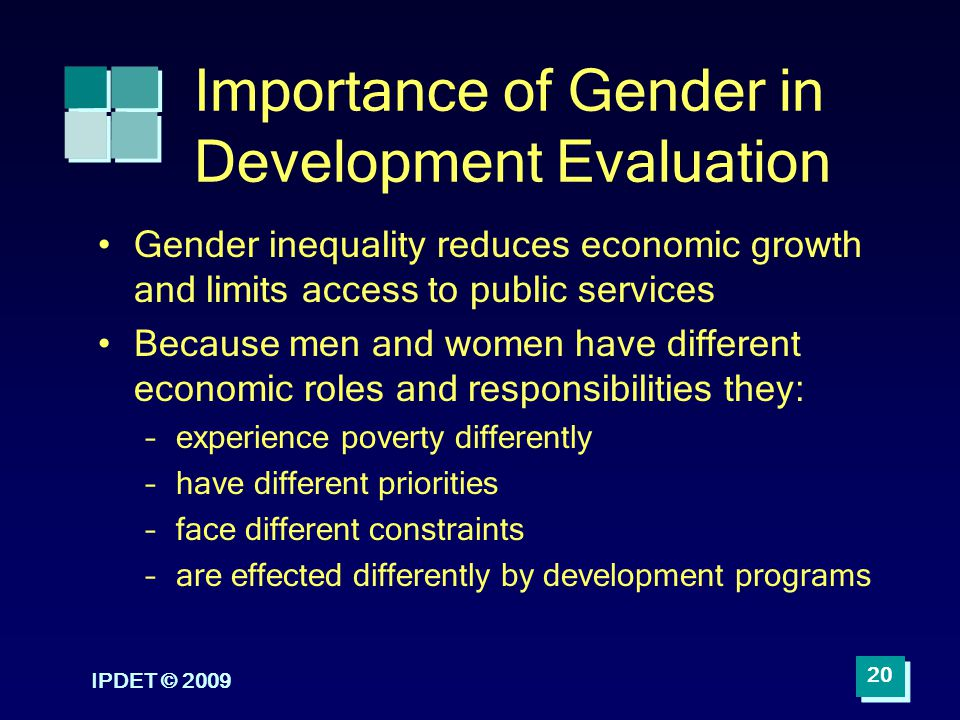 IPDET © 2009 20 Importance of Gender in Development Evaluation Gender inequality reduces economic growth and limits access to public services Because