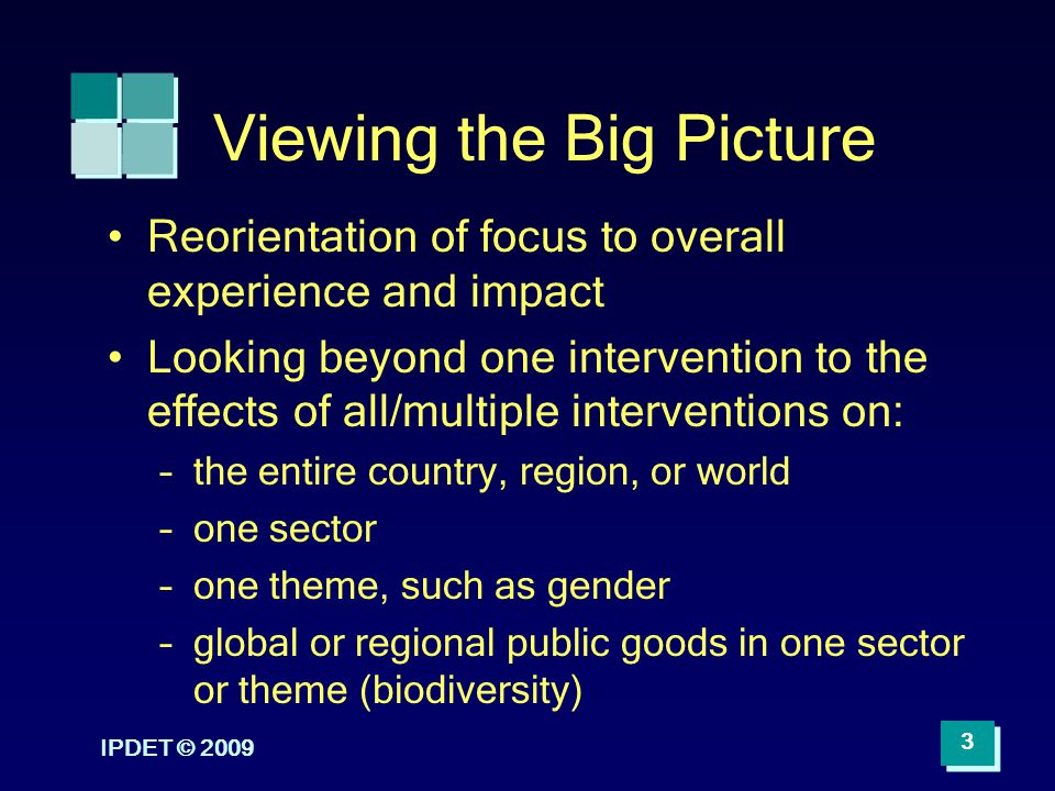 IPDET © 2009 3 Viewing the Big Picture Reorientation of focus to overall experience and impact Looking beyond one intervention to the effects of all/m