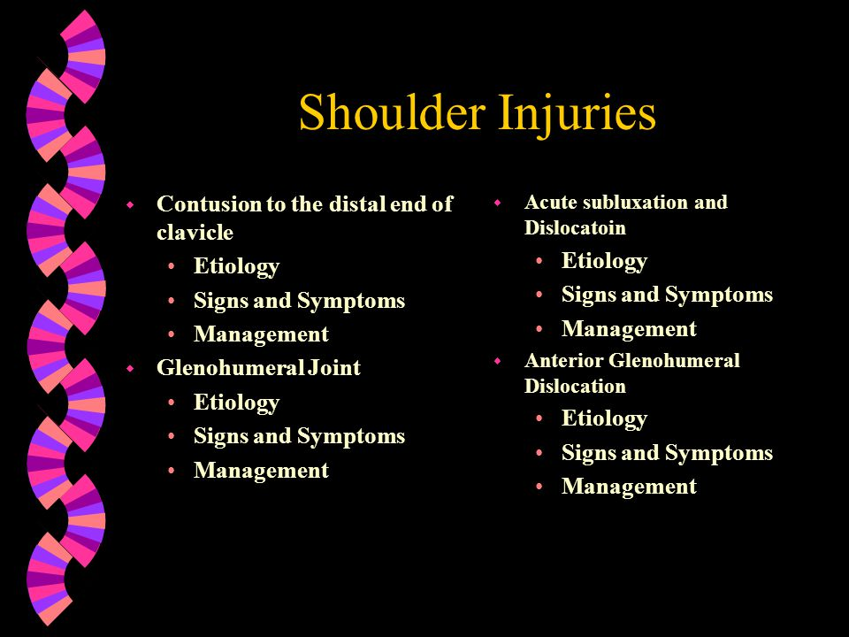 Shoulder Injuries w Posterior Glenohumeral dislocation Etiology Signs and Symptoms Management w Chronic Instabilities (anterior, posterior, and multidirectional) Etiology Signs and Symptoms Management w Shoulder Impingement Etiology Signs and Symptoms Management w Rotator Cuff Tears Etiology Signs and Symptoms Management w Frozen Shoulder Etiology Signs and Symptoms Management
