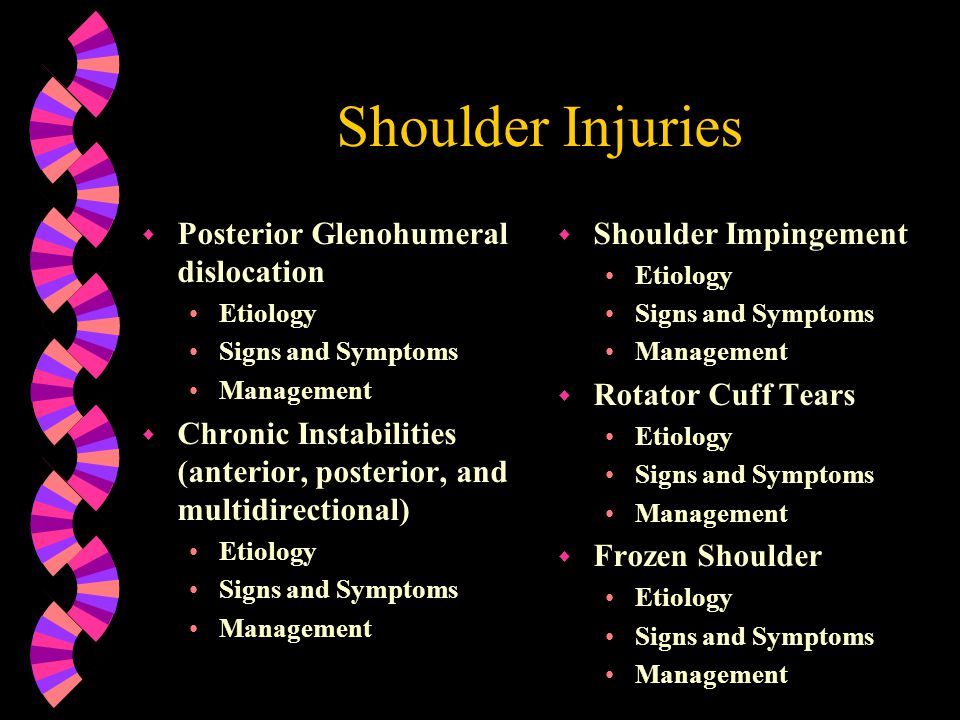 Shoulder Injuries w Thoracic Outlet Compression Syndrome Etiology Signs and Symptoms Management w Biceps Brachii Rupture Etiology Signs and Symptoms Management w Bicipital Tenosynovitis Etiology Signs and Symptoms Management w Contusion of the Upper Arm Etiology Signs and Symptoms Management w Peripheral Nerve Injury Etiology Signs and Symptoms Management