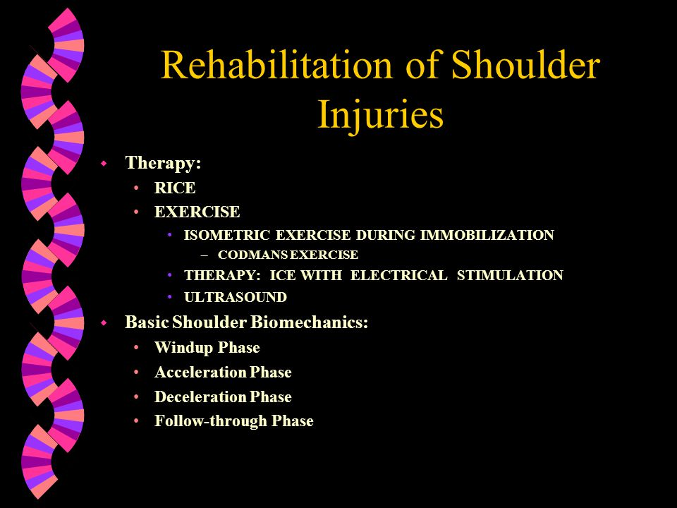 Rehabilitation of The Shoulder Complex w Immobilization After Injury w General Body Conditioning w Shoulder Joint Mobilization w Flexibility w Muscular Strength w Regaining Neuromuscular Control w Functional Progression w Return to Activity