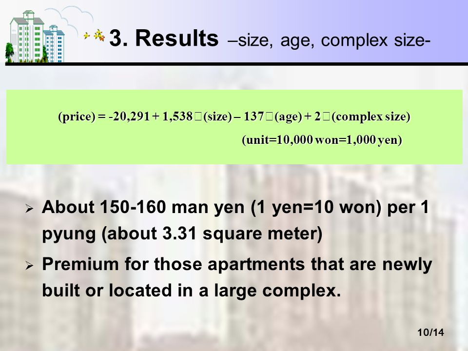 10/14 3. Results –size, age, complex size- About 150-160 man yen (1 yen=10 won) per 1 pyung (about 3.31 square meter) Premium for those apartments tha