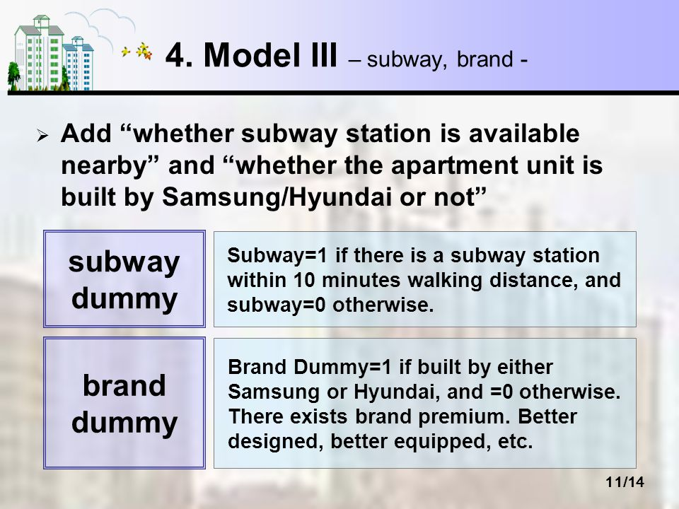 11/14 4. Model III – subway, brand - Add whether subway station is available nearby and whether the apartment unit is built by Samsung/Hyundai or not
