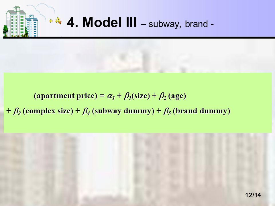 12/14 4. Model III – subway, brand - (apartment price) = 1 + 1 (size) + 2 (age) (apartment price) = 1 + 1 (size) + 2 (age) + 3 (complex size) + 4 (sub