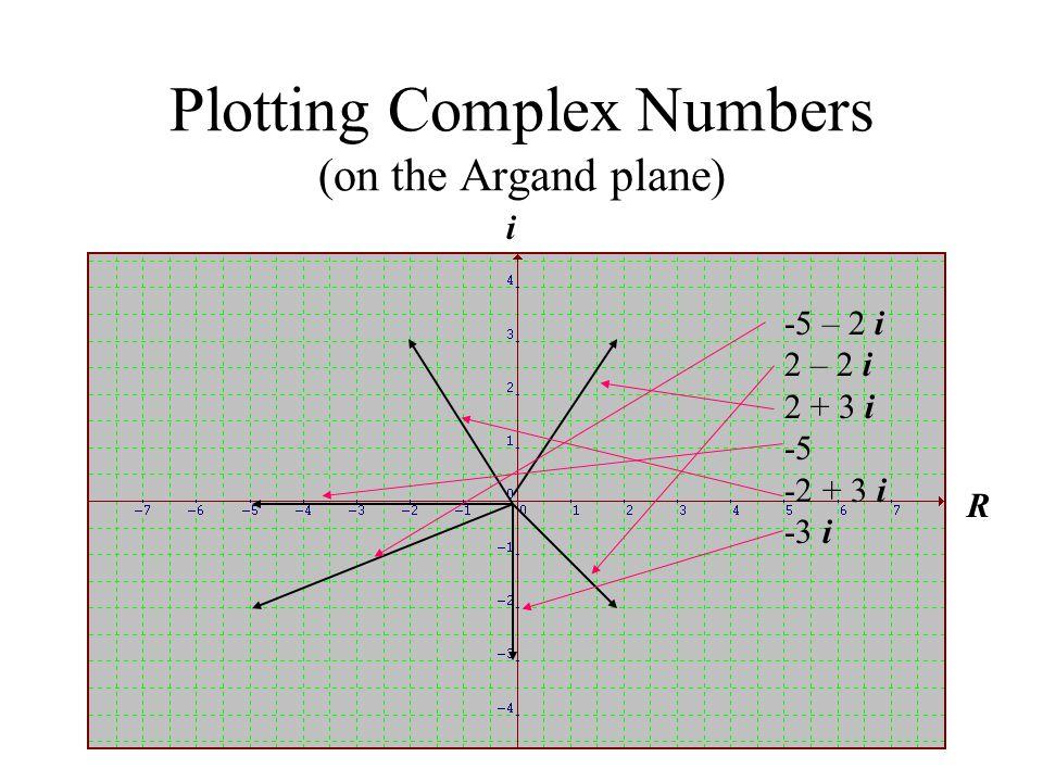 Plotting Complex Numbers (on the Argand plane) i R -5 – 2 i 2 – 2 i 2 + 3 i -5 -2 + 3 i -3 i