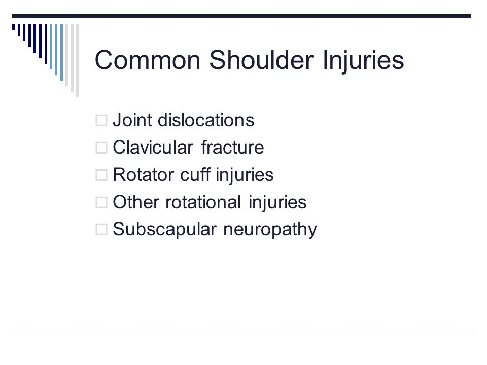Common Shoulder Injuries Joint dislocations Clavicular fracture Rotator cuff injuries Other rotational injuries Subscapular neuropathy