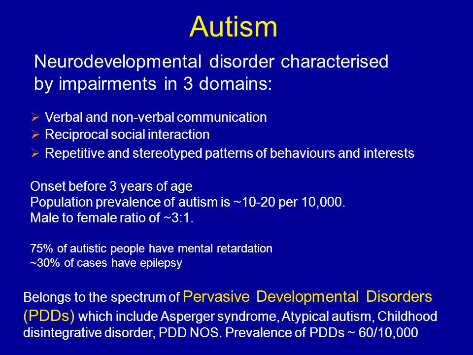 Autism Verbal and non-verbal communication Reciprocal social interaction Repetitive and stereotyped patterns of behaviours and interests Onset before 3 years of age Population prevalence of autism is ~10-20 per 10,000.