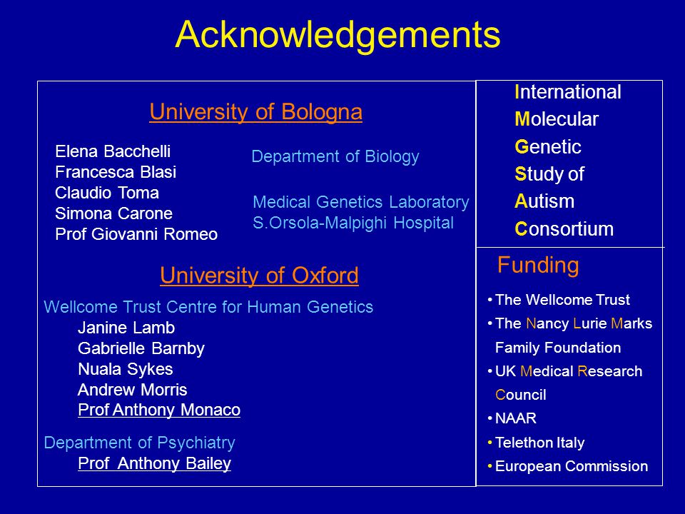 Acknowledgements University of Bologna International Molecular Genetic Study of Autism Consortium Funding Elena Bacchelli Francesca Blasi Claudio Toma Simona Carone Prof Giovanni Romeo Department of Biology Medical Genetics Laboratory S.Orsola-Malpighi Hospital Wellcome Trust Centre for Human Genetics Janine Lamb Gabrielle Barnby Nuala Sykes Andrew Morris Prof Anthony Monaco Department of Psychiatry Prof Anthony Bailey University of Oxford The Wellcome Trust The Nancy Lurie Marks Family Foundation UK Medical Research Council NAAR Telethon Italy European Commission
