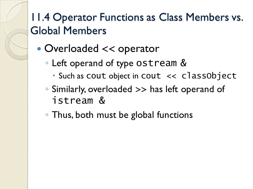 11.4 Operator Functions as Class Members vs. Global Members Overloaded << operator Left operand of type ostream & Such as cout object in cout << class