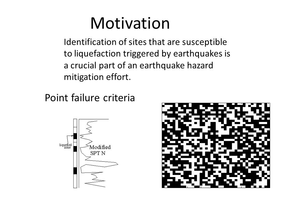 Motivation Identification of sites that are susceptible to liquefaction triggered by earthquakes is a crucial part of an earthquake hazard mitigation effort.