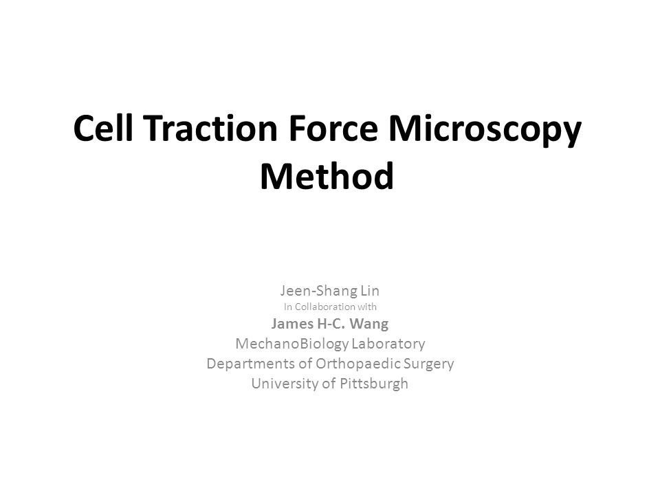 Cell Traction Force Microscopy Method Jeen-Shang Lin In Collaboration with James H-C.
