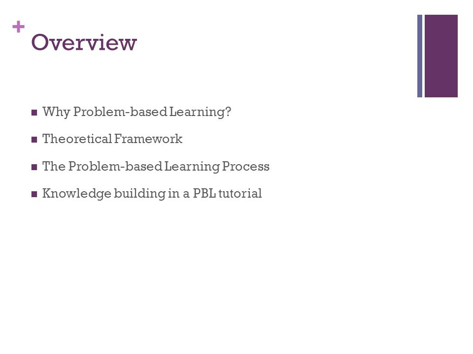+ Overview Why Problem-based Learning.