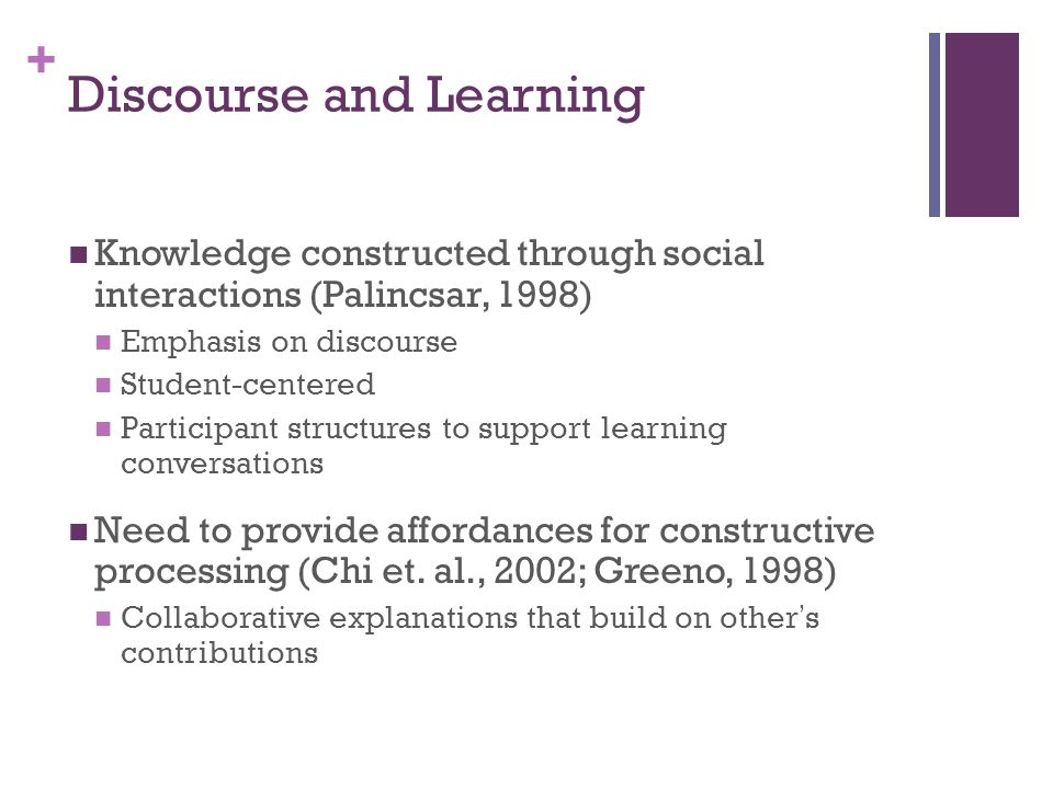 + Discourse and Learning Knowledge constructed through social interactions (Palincsar, 1998) Emphasis on discourse Student-centered Participant structures to support learning conversations Need to provide affordances for constructive processing (Chi et.