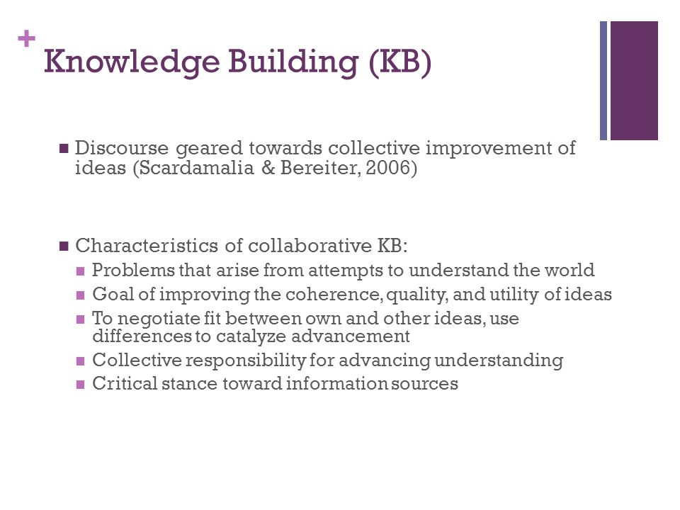 + Knowledge Building (KB) Discourse geared towards collective improvement of ideas (Scardamalia & Bereiter, 2006) Characteristics of collaborative KB: Problems that arise from attempts to understand the world Goal of improving the coherence, quality, and utility of ideas To negotiate fit between own and other ideas, use differences to catalyze advancement Collective responsibility for advancing understanding Critical stance toward information sources