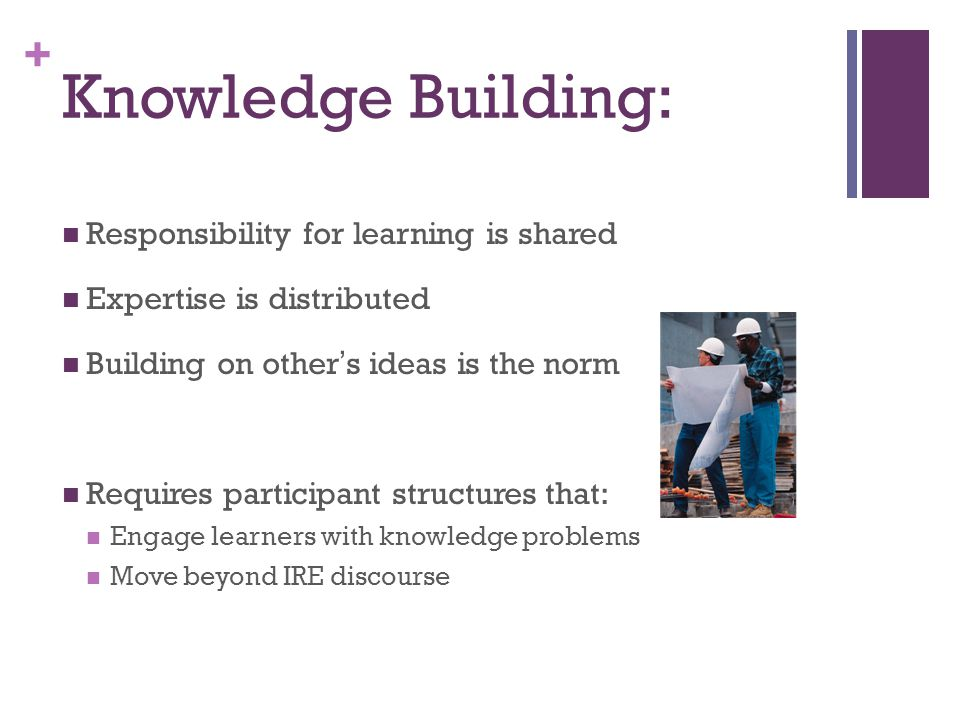 + Knowledge Building: Responsibility for learning is shared Expertise is distributed Building on others ideas is the norm Requires participant structures that: Engage learners with knowledge problems Move beyond IRE discourse