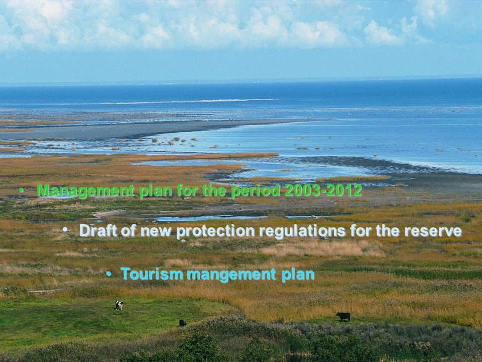 Management plan for the period 2003-2012Management plan for the period 2003-2012 Draft of new protection regulations for the reserve Tourism mangement plan Tourism mangement plan