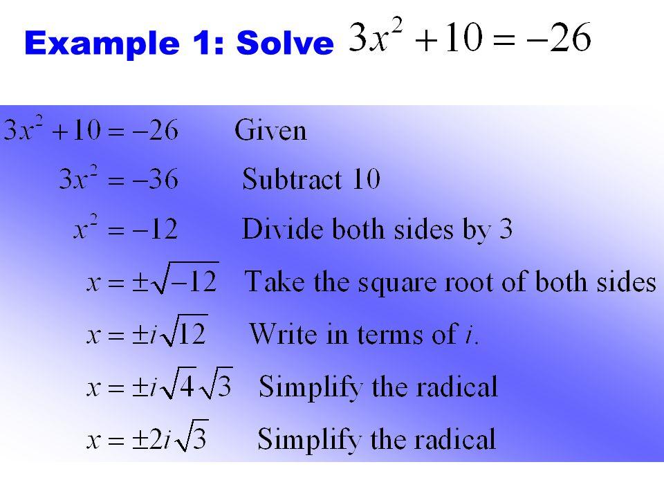 Example 1: Solve