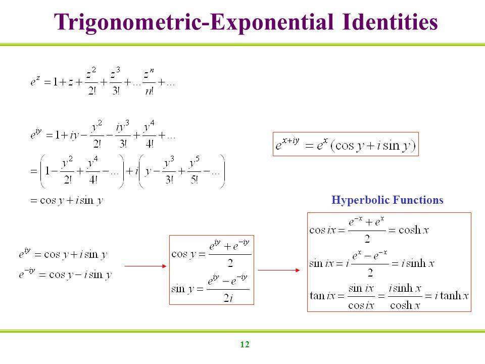 12 Trigonometric-Exponential Identities Hyperbolic Functions
