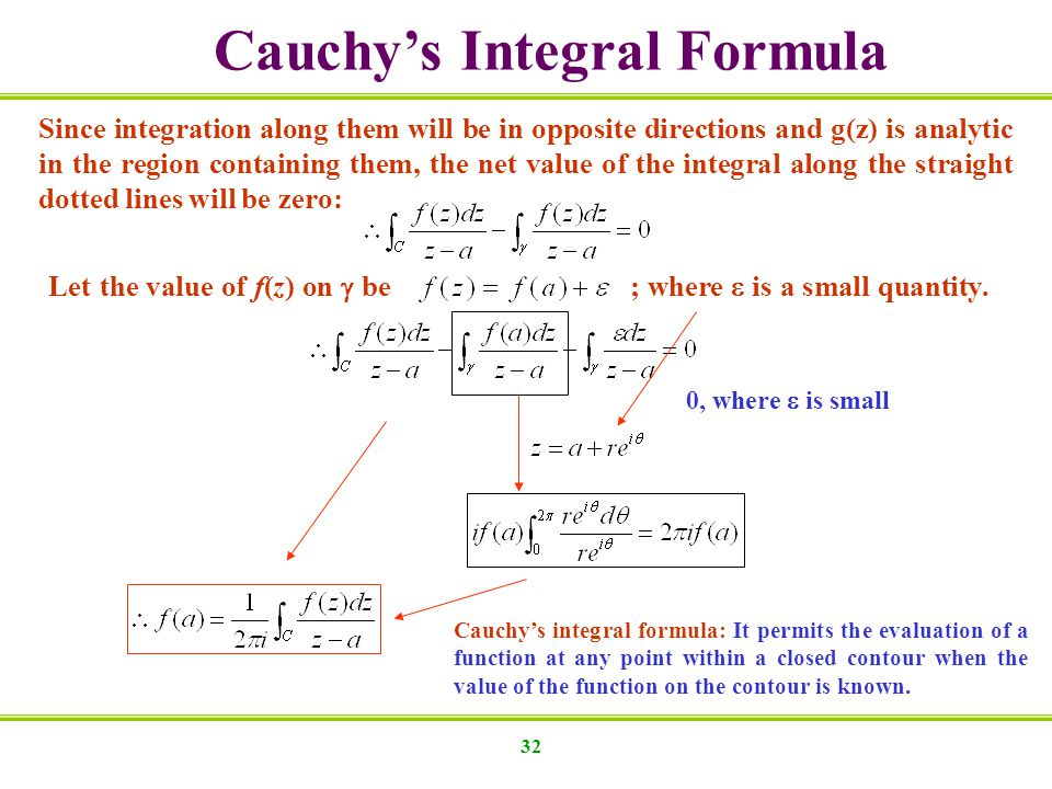 32 Cauchys Integral Formula Since integration along them will be in opposite directions and g(z) is analytic in the region containing them, the net value of the integral along the straight dotted lines will be zero: Let the value of f(z) on be ; where is a small quantity.