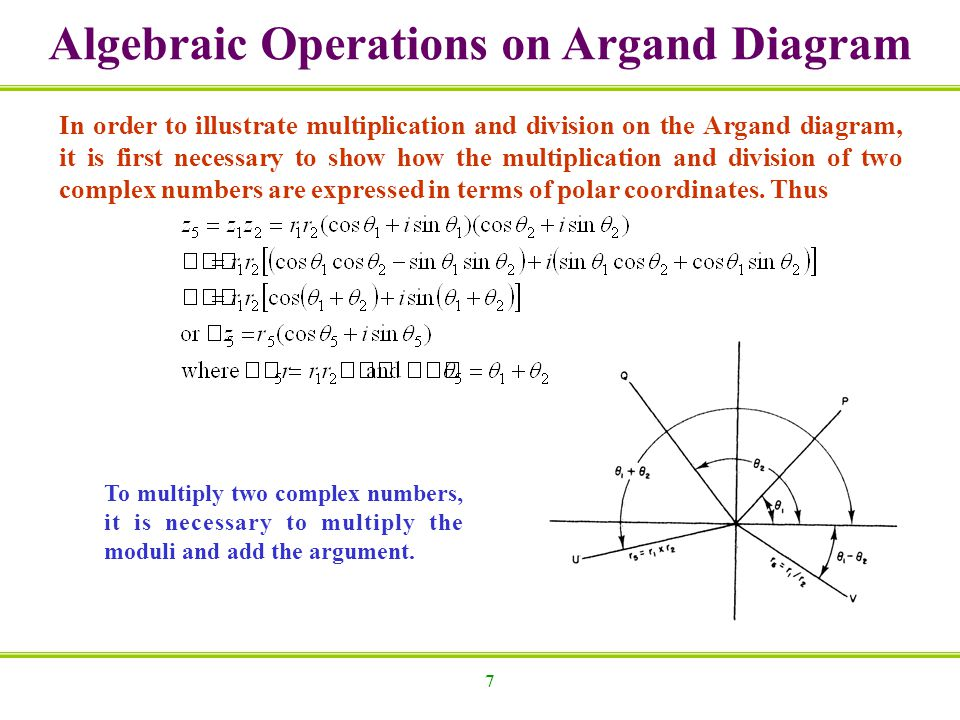 7 Algebraic Operations on Argand Diagram In order to illustrate multiplication and division on the Argand diagram, it is first necessary to show how t