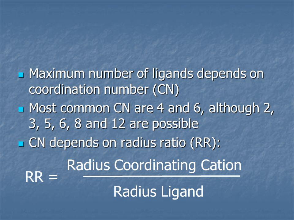 Maximum number of ligands depends on coordination number (CN) Maximum number of ligands depends on coordination number (CN) Most common CN are 4 and 6