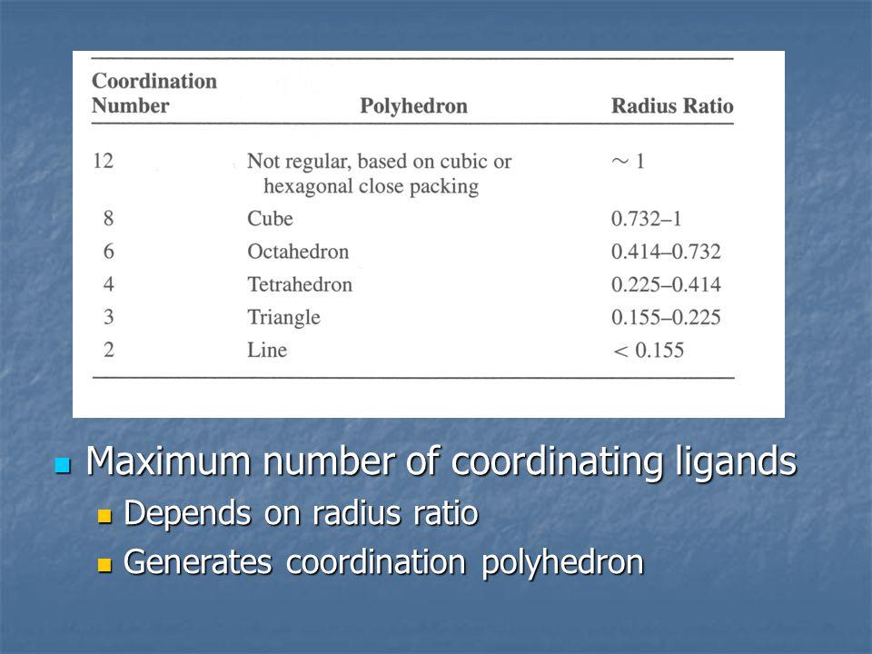 Maximum number of coordinating ligands Maximum number of coordinating ligands Depends on radius ratio Depends on radius ratio Generates coordination p