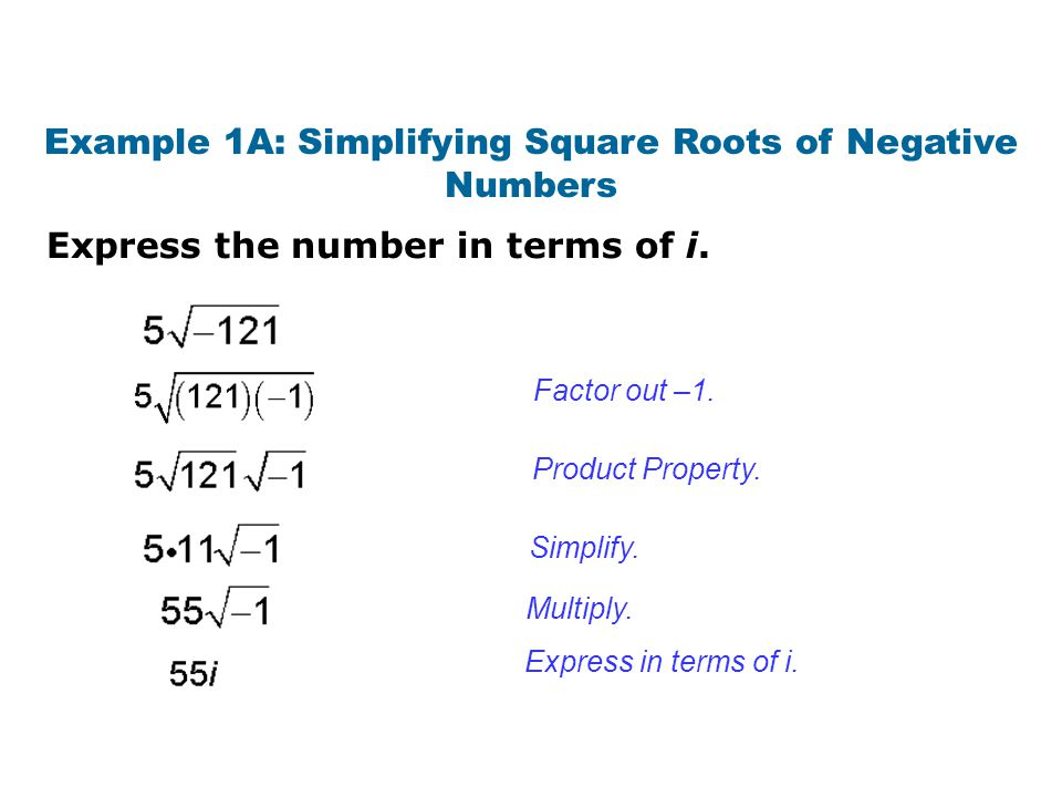 Express the number in terms of i. Example 1A: Simplifying Square Roots of Negative Numbers Factor out –1. Product Property. Simplify. Multiply. Expres