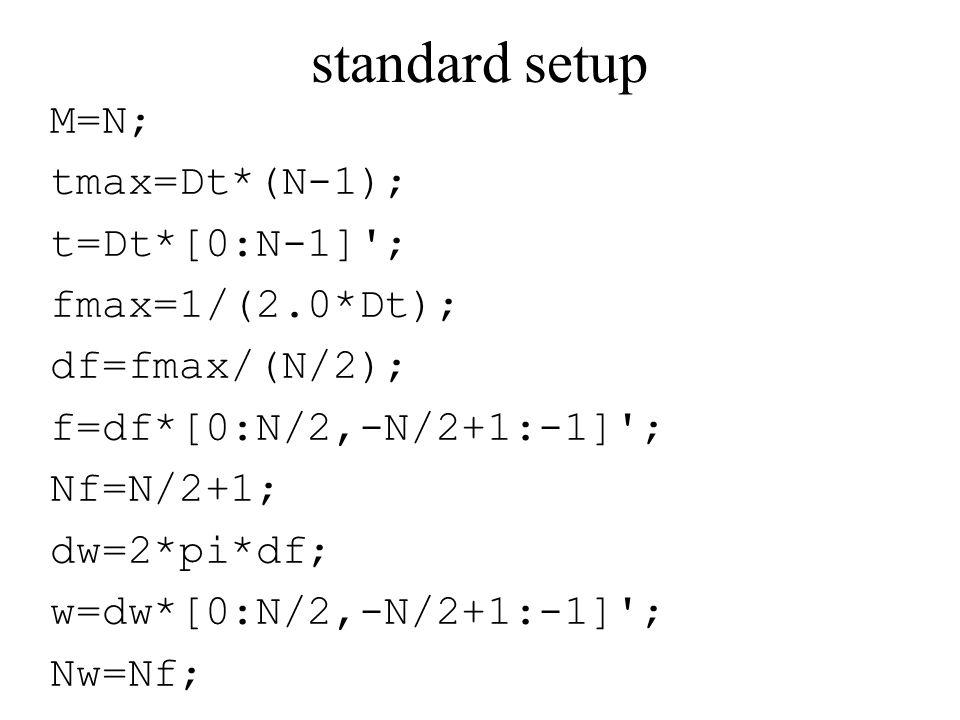 standard setup M=N; tmax=Dt*(N-1); t=Dt*[0:N-1] ; fmax=1/(2.0*Dt); df=fmax/(N/2); f=df*[0:N/2,-N/2+1:-1] ; Nf=N/2+1; dw=2*pi*df; w=dw*[0:N/2,-N/2+1:-1] ; Nw=Nf;