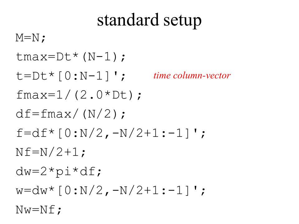 standard setup M=N; tmax=Dt*(N-1); t=Dt*[0:N-1] ; fmax=1/(2.0*Dt); df=fmax/(N/2); f=df*[0:N/2,-N/2+1:-1] ; Nf=N/2+1; dw=2*pi*df; w=dw*[0:N/2,-N/2+1:-1] ; Nw=Nf; time column-vector