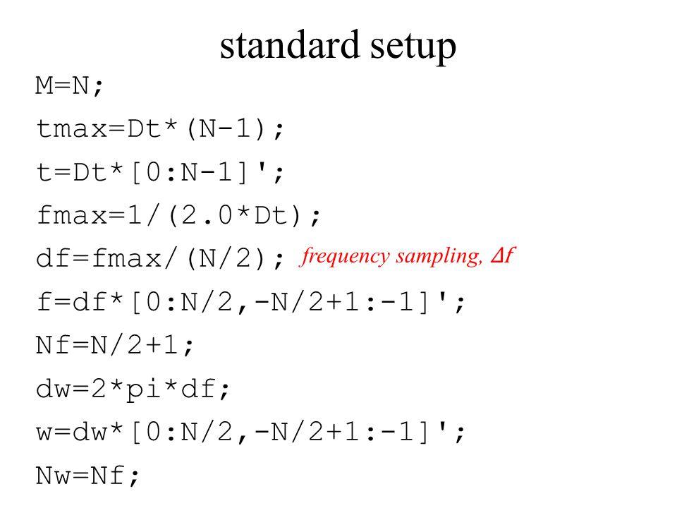 standard setup M=N; tmax=Dt*(N-1); t=Dt*[0:N-1] ; fmax=1/(2.0*Dt); df=fmax/(N/2); f=df*[0:N/2,-N/2+1:-1] ; Nf=N/2+1; dw=2*pi*df; w=dw*[0:N/2,-N/2+1:-1] ; Nw=Nf; frequency sampling, Δf