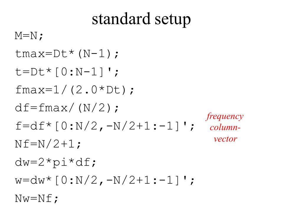 standard setup M=N; tmax=Dt*(N-1); t=Dt*[0:N-1] ; fmax=1/(2.0*Dt); df=fmax/(N/2); f=df*[0:N/2,-N/2+1:-1] ; Nf=N/2+1; dw=2*pi*df; w=dw*[0:N/2,-N/2+1:-1] ; Nw=Nf; frequency column- vector