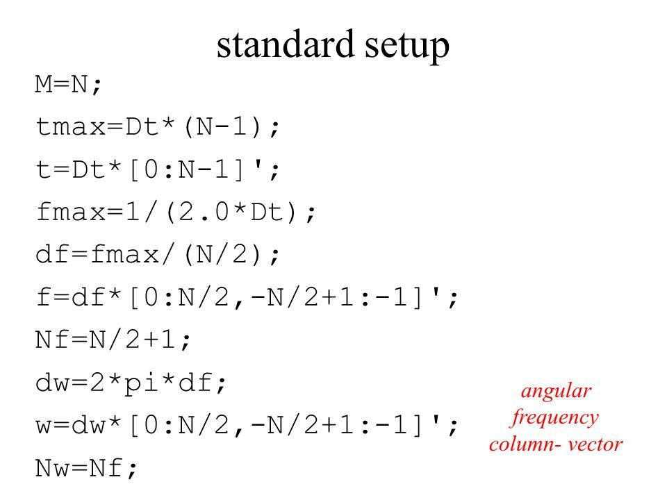 standard setup M=N; tmax=Dt*(N-1); t=Dt*[0:N-1] ; fmax=1/(2.0*Dt); df=fmax/(N/2); f=df*[0:N/2,-N/2+1:-1] ; Nf=N/2+1; dw=2*pi*df; w=dw*[0:N/2,-N/2+1:-1] ; Nw=Nf; angular frequency column- vector