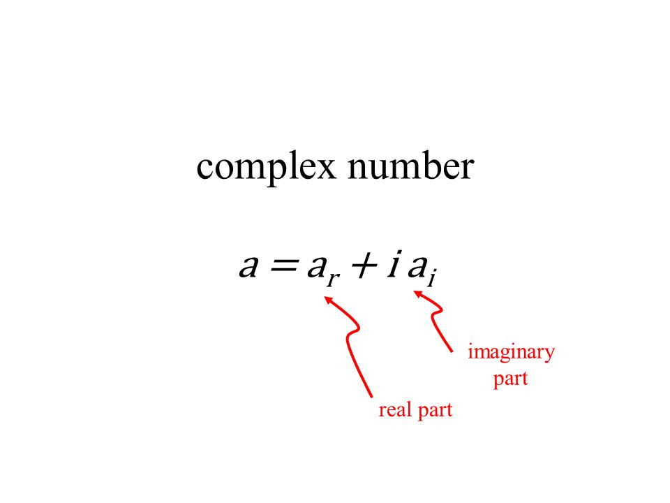 complex number a = a r + i a i real part imaginary part