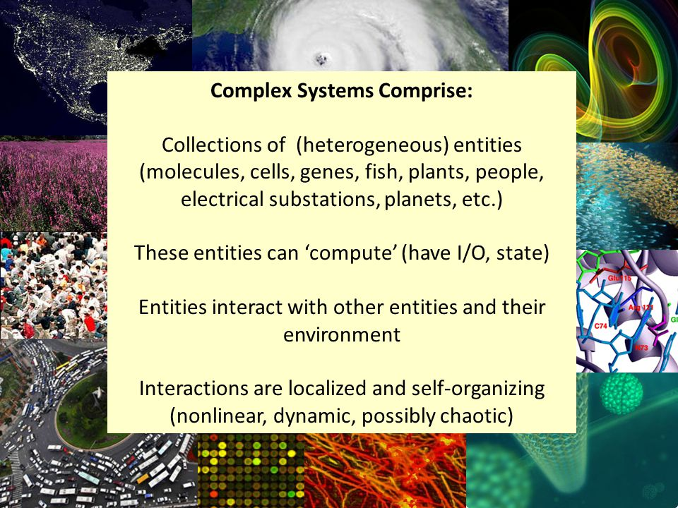 Complex Systems Comprise: Collections of (heterogeneous) entities (molecules, cells, genes, fish, plants, people, electrical substations, planets, etc.) These entities can compute (have I/O, state) Entities interact with other entities and their environment Interactions are localized and self-organizing (nonlinear, dynamic, possibly chaotic)