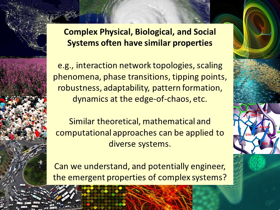 Complex Physical, Biological, and Social Systems often have similar properties e.g., interaction network topologies, scaling phenomena, phase transitions, tipping points, robustness, adaptability, pattern formation, dynamics at the edge-of-chaos, etc.