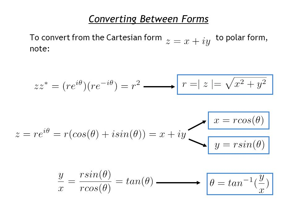 Converting Between Forms To convert from the Cartesian form to polar form, note: