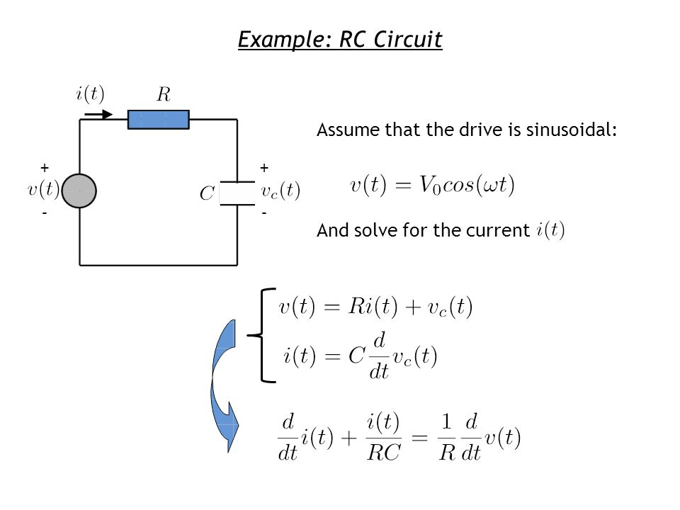 Example: RC Circuit + - Assume that the drive is sinusoidal: And solve for the current + -