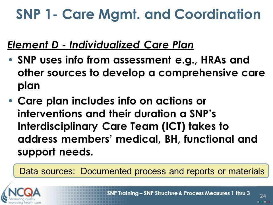 24 SNP Training – SNP Structure & Process Measures 1 thru 3 Element D - Individualized Care Plan SNP uses info from assessment e.g., HRAs and other sources to develop a comprehensive care plan Care plan includes info on actions or interventions and their duration a SNPs Interdisciplinary Care Team (ICT) takes to address members medical, BH, functional and support needs.