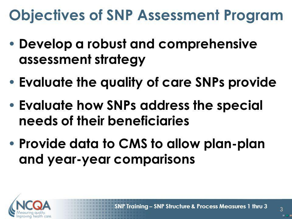 3 SNP Training – SNP Structure & Process Measures 1 thru 3 Objectives of SNP Assessment Program Develop a robust and comprehensive assessment strategy Evaluate the quality of care SNPs provide Evaluate how SNPs address the special needs of their beneficiaries Provide data to CMS to allow plan-plan and year-year comparisons