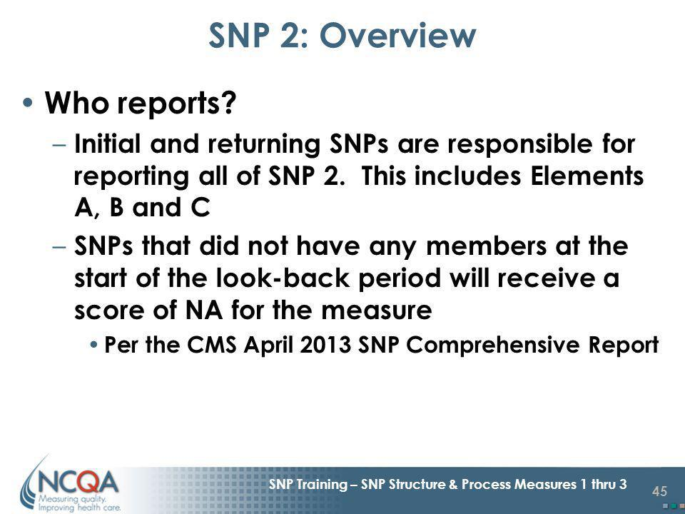 45 SNP Training – SNP Structure & Process Measures 1 thru 3 Who reports.