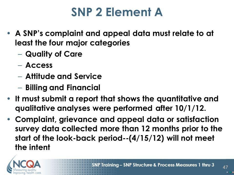 47 SNP Training – SNP Structure & Process Measures 1 thru 3 A SNPs complaint and appeal data must relate to at least the four major categories – Quality of Care – Access – Attitude and Service – Billing and Financial It must submit a report that shows the quantitative and qualitative analyses were performed after 10/1/12.